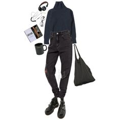 depressed art student by inteovertgirl on Polyvore featuring Dr. Martens, Laneus and HUF
