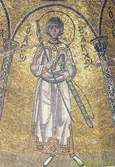 11th C Nea Moni Chios St Bacchos in ceremonial spekion with spathobaklion