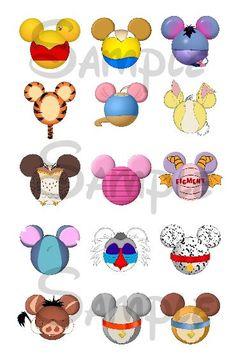 """Varios personajes de Disney inspiraron cabeza Mickey hoja de imagen DIGITAL cápsula 4 x 6 1 """"pulgada DIY"""