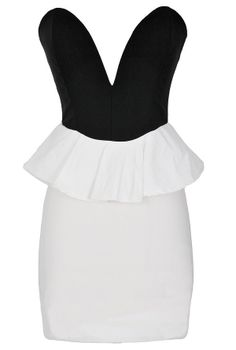 Play My Song Black and White Plunging Peplum Dress  www.lilyboutique.com