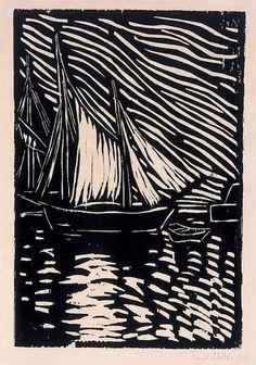 Emil Nolde Sail Boat, 1906  linocut