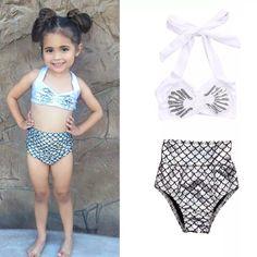 2pc Platinum Silver Sequin Mermaid Bikini