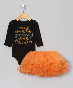 Take a look at this Black 'Got Candy?' Bodysuit & Orange Sparkle Tutu - Infant on zulily today!