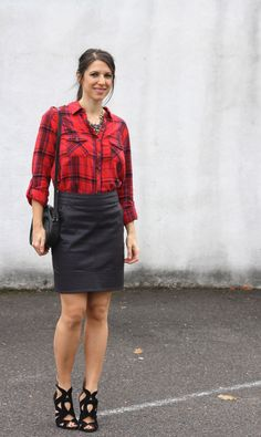 Adahlia Volk - plaid shirt, black leather skirt