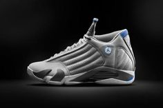 NIKE AIR JORDAN 14 RETRO WOLF GREY/WHITE-SPORT BLUE #sneaker