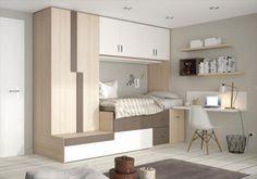 Soluciones para dormitorios juveniles pequeños. Dormitorio compacto Ringo de Kibuc con cama nido y armario