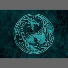 Blue Stone Yin Yang Dragons Business Card by Jeff Bartels