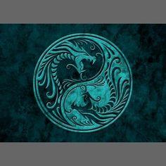 Blue Stone Yin Yang Dragons Business Card by Jeff Bartels