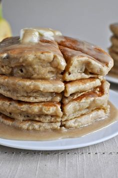 Banana Bread Pancakes    2 cups whole wheat pastry flour    2 teaspoons baking powder    1/4 teaspoon salt    1/4 cup brown sugar    1 teaspoon cinnamon    1/4 teaspoon nutmeg    2/3 cup milk    1 tablespoon vanilla extract    3 large ripe bananas, mashed    2 tablespoons butter, melted    In a large bowl, combine flour, baking powder, sugar, salt,