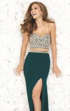 Embellished Slit Gown by Madison James Special Occasion 15-168