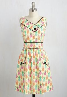 Places to Go, People to See Dress in Pineapples - Multi, Yellow, Novelty Print, Print, Pockets, Casual, Sundress, A-line, Sleeveless, Summer, Woven, Best, Mid-length, Variation, Beach/Resort, Fruits, Food
