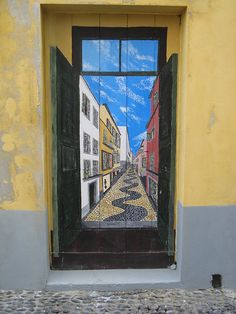Projecto artE pORtas abErtas, Open Doors project, painted doors, Funchal, Madeira, Portugal by Jose Romeu, via Flickr