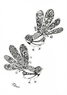 Fancy Fantails / Kiwiana ink illustration by New Zealand Artist Robyn Lamont New Zealand Tattoo, New Zealand Art, Maori Designs, School Murals, Nz Art, Maori Art, Kiwiana, Ink Illustrations, Zentangle Patterns