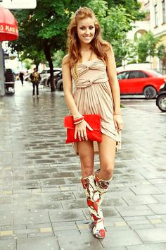 with rain boots I wish I had this dress and shoes!