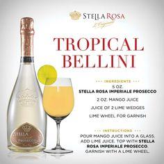 Stella Rosa original recipe: Stella Rosa Tropical Bellini, with Stella Rosa Imperiale Prosecco. For more of our signature specialties, visit http://stellarosawines.com/