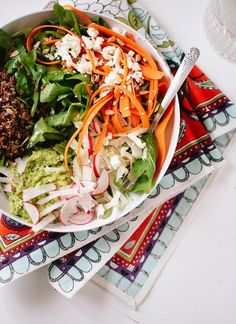 Spring Carrot, Radish and Quinoa Salad with Herbed Avocado #carrot #quinoa #salad