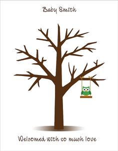 Thumbprint Tree Guest Book with baby owl on the swing - Printable JPEG - Digital Fingerprint Tree- Custom color, size, text and language