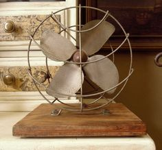 Vintage Industrial Fan / Gray and Green Fan / by AloofNewfWhimsy