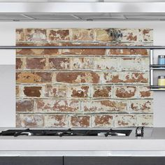 Brewster Brown Old Bricks Kitchen Panel Wall Decal - The Home Depot Faux Brick Wall Panels, Brick Wall Paneling, Faux Brick Walls, Old Brick Wall, Wood Wall, Porte Cochere, Backsplash Panels, Backsplash Ideas, Kitchen Cabinets