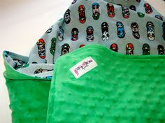 Green Minky  And Skateboards Baby Blanket by punkrocksquirrel, $35.00