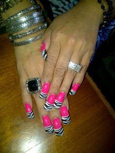 hot pink zebra nail design