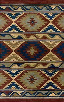 Southwest style rug with updated colors. Hand tufted in wool, with navy blue, sage green, deep rust, copper and tan. Great in Santa Fe style, Western style, Native American style interiors. Southwest-SU2253