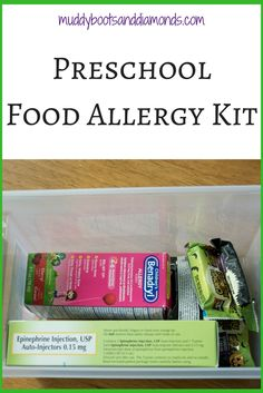 Food allergy emergency kit for preschool. #foodallergy #preschool #nutfree via muddybootsanddiamonds.com