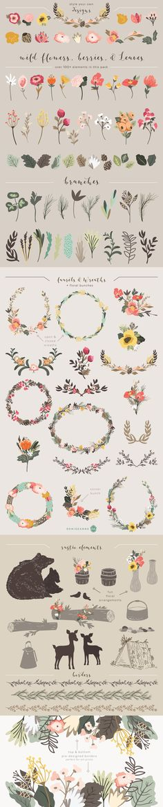 Flowers and leaves. The All-Purpose Vector Supply Kit Painting & Drawing, Pebeo Porcelaine 150, Illustration Blume, Illustrator, Pattern Drawing, Grafik Design, Design Elements, Watercolor Art, Pattern Design