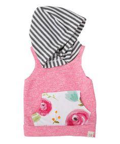 Pink & Rose Floral Sleeveless Hoodie - Infant & Kids