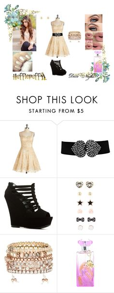 """""""Hufflepuff #8"""" by undeaddemon18 ❤ liked on Polyvore featuring Chi Chi, Accessorize, Sephora Collection, Disney, cute, DateNight and harrypotter"""