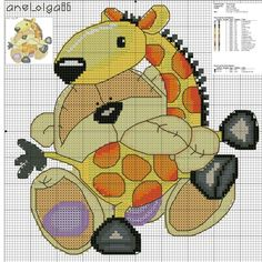Fizzy moon~a story of a bear and his giraffe Cross Stitch For Kids, Cross Stitch Boards, Just Cross Stitch, Cross Stitch Baby, Cross Stitch Animals, Funny Cross Stitch Patterns, Cross Stitch Designs, Cross Stitching, Cross Stitch Embroidery