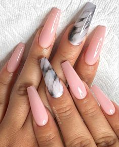 awesome acrylic coffin nails designs in summer 37 ~ my.me awesome acrylic coffin nails desi. Marble Acrylic Nails, Acrylic Nails Coffin Short, Summer Acrylic Nails, Best Acrylic Nails, Nail Summer, Black Coffin Nails, Cute Acrylic Nail Designs, Pink Nail Designs, Nails Design