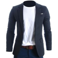FLATSEVEN Mens Slim Fit Casual Premium Blazer Jacket found on Polyvore