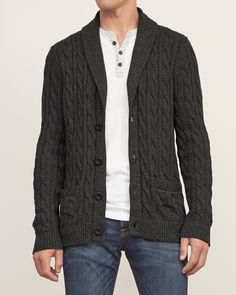 Mens Knitted Cardigans Full Front Button Closure Classic Style Cardigans