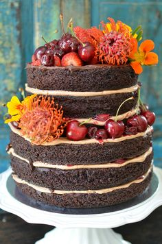 Delicious dark moist chocolate layered cake with kirsch-cherry sauce and Christmas cherries