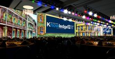 """2012 general session set for ServiceNow Knowledge12 conference.  Dimensional set featured """"Bourbon St."""" scene for New Orleans venue."""