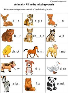 Animals fill in 1 worksheets (and many more) ingilizce worksheets, english English Activities For Kids, English Lessons For Kids, Kids English, Learn English, School Worksheets, Kindergarten Worksheets, Worksheets For Kids, Farm Animals Preschool, Animals For Kids