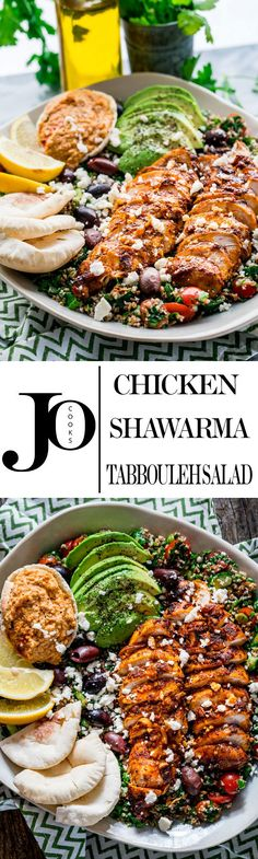 This Chicken Shawarma Tabbouleh Salad is super fresh and loaded with incredible flavors. The chicken is marinated in Middle Eastern spices, super moist and delicious served over the best tabbouleh salad and a side of homemade hummus.