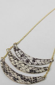 *Accessories Boutique Necklace Triple Layer Snake Print in Grey - Karmaloop.com