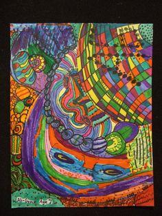 Abstract Drawing: Hundertwasser Inspired. 2nd Grade. Art teacher Jennifer Lipsey Edwards.