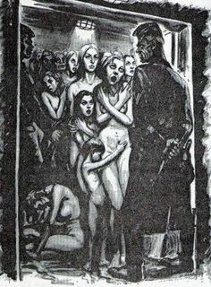 "David Olère (1902 – 1985, Polish-born French) ~ ""In the gas chamber"" ~ As a Jew, David Olère was deported to Auschwitz, where he was forced to work in the gas chambers and crematorium. His work, based on personal experience, has exceptional documentary value. Needless to say that, in their tragic cruelty, his drawings and paintings are highly explicit."