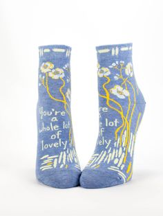 The perfect gift for those rare moments when they burst through the walls of just plain Lovely and strike a perfect landing smack-dab in the middle of A Whole Lotta. Women's shoe size 5-10. 52% combed cotton, 46% nylon and 2% spandex.