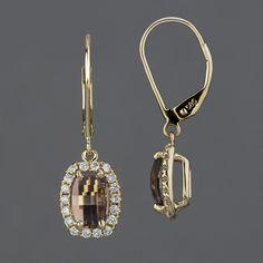 Maine Mink Quartz & Diamond Earrings
