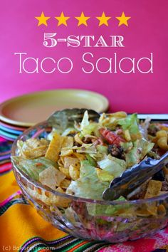 This is a fun twist on the conventional taco salad by using corn chips. This 5-star taco salad is quick and easy and can be made just under 30 minutes. Bakerette.com