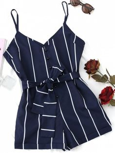 Wipalo Summer Women Stripe Romper Jumpsuit Sexy V Neck Bowknot Belted jumpsuit Bodysuit Button Up Strapless Overalls Playsuit Wipalo Summer Women Stripe Romper Jumpsuit Sexy V Neck Bowknot Belted – cigauy - Jumpsuits and Romper Cute Rompers, Rompers Women, Jumpsuits For Women, Blue Jumpsuits, Evening Jumpsuits, Rompers Dressy, Outfits For Teens, Summer Outfits, Cute Outfits