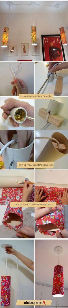 Pendentes feitos de PVC e sobras de tecido, reaproveitando objetos para criar luminárias inusitadas.::