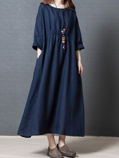 Women Solid Color Dress Long Sleeves Pockets Loose Cotton Simple Casual Dress Spring Size M Color Red Linen Dresses, Dresses With Sleeves, Maxi Dresses, Flowing Dresses, Spring Dresses Casual, Dress Casual, Spring Clothes, Casual Summer, Chic Dress