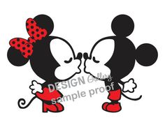 Kissing Mickey Mouse & Minnie Mouse Disney DIY Printable Iron On t shirt Transfer Instant Download