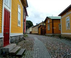 own wooden apartment Yellow Houses, Colorful Houses, Baltic Cruise, Scandinavian Countries, Built Environment, Little Houses, World Heritage Sites, Old Houses, Places To See