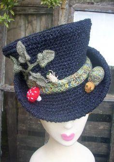 Snowman/Willy Wonka/Mad Hatter hat, depending on trim. Crochet Fall, Easy Crochet, Knit Crochet, Bonnet Crochet, Crochet Beanie, Crochet Pour Halloween, Confection Au Crochet, Freeform Crochet, Crochet Gifts